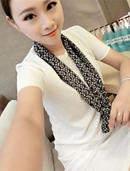 Women's Round Neck Irregularity Loose T-shirt with Scarf