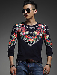 Hugo Men's Fashion Rose Steel Chain Floral Print Round Collar Long Sleeve T-shirt