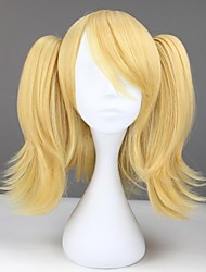 Short Wavy Golden Yellow Synthetic Anime Cosplay Wig with Two Ponytails