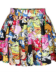 PinkQueen Women's Spandex Cartoon Printed Pleated Skirt