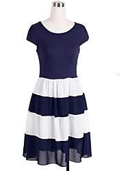 rodada contraste fashion vestido cor patchwork tarja das mulheres