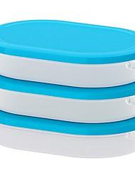 Ellipse transparent weiß Nahrungsmittelbehälter mit Deckel Polypropylen-Kunststoff 3-er Pack, 20x14x4cm