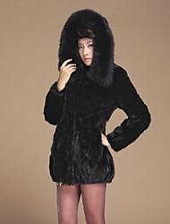 Zijindiao® Women's Genuine Rex Rabbit Fur Splicing Mink Fur Coat with Fox Fur Hoodies