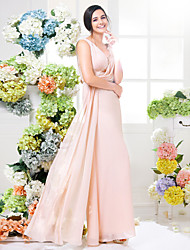 Lanting Bride® Floor-length Chiffon Bridesmaid Dress Sheath / Column V-neck Plus Size / Petite with Lace / Sash / Ribbon / Criss Cross