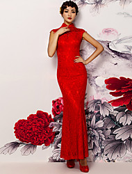 Sheath / Column Wedding Dress Vintage Inspired Ankle Length High Neck Lace with Lace