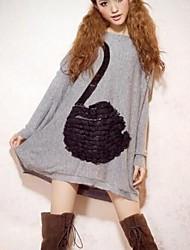 Women's Korean Loose Bat Lovely Sequins Lace Swan Rabbit Hair Sweater