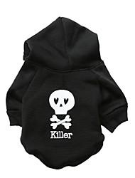 Chat / Chien Pulls à capuche Noir Vêtements pour Chien Hiver Crânes