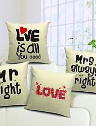 Set of 4 Loving Words Cotton/Linen Decorative Pillow Cover