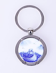 Round The Wall Design   Metal Silver Keychain Toys