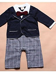 Boy's Turn-down Collar Long Sleeve White Shirts + Red Bow + Blue Coat + Plaid Pants Design Rompers