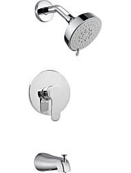 """Support mural chromé contemporaine pluie poignée simple robinet de douche en laiton avec 4.13 """"de douche et robinet robinet"""