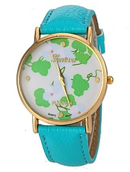 Women's Fashion Leaf Pattern PU Leather Band Quartz Wrist Watch (Assorted Colors) Cool Watches Unique Watches