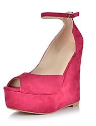 bc niedlichen rosa Wildleder Frauenkeilabsatz Sandalen mit Schnalle