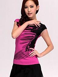 Women's Print Red/White T-shirt , Round Neck Short Sleeve