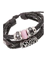 perlas clásicas 20cm pulsera de cuero de cuero negro de los hombres (negro) (2 piezas)