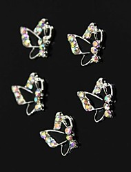10pcs Colorfull Rhinestone Black Butterfly Nail Art Decoration