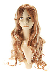 Capless Mix Color (Silver And Brown) Extra Long Wavy Wigs Side Bang