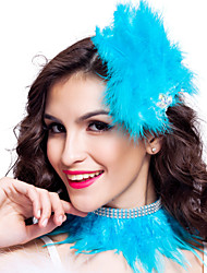 Dance Accessories Headpieces / Stage Props Women's Feathers Crystals/RhinestonesApple Green / Beige / Black / Blue / Fuchsia / Pink /