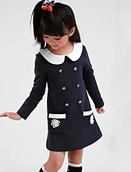 Girl's Cotton Button Full-sleeve Baby Princess Kids Clothing School Uniform Spring and Autumn Dresses