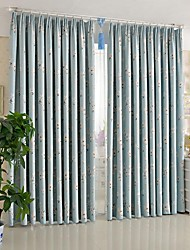 AnTi™ Two Panels Pastoral Small White Flowers Room Darkening Curtains Drapes
