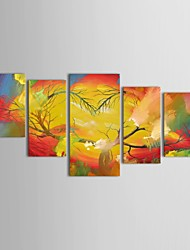 IARTS®Hand Painted Oil Painting Landscape   Heart Shape Dead Tree Art with Stretched Frame Set of 5