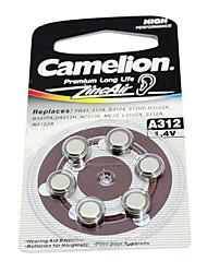 6pcs caméléon aide 1.4v a312 auditive zinc batteries d'air argent