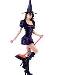 elonbo® sexy girl mangas curtas poliéster roxo traje da bruxa do spandex das mulheres