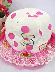 Children's Fashion Lovely Cotton Print Dot Rabbit Lace Bucket Hats