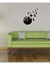 """30 """"h style moderne nouvelle acrylique papillon simples miroir mural d'horloge"""