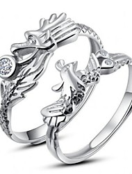I FREE SILVER®Classic S925 Sterling Silver Dragon And Phoenix Shape Couple Rings 2 pcs