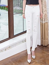 Women's 2014 New Fashion Low-Rise Zipper Fly Ripped Vintage Combined Body Long Pencil Jeans