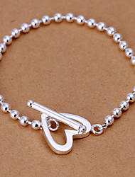 Lovely Sweet Women's  Love Brass Silver Plated Strand Bracelet(Silver)(1Pc)