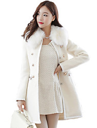 Women's Solid Color White / Brown Coats & Jackets , Casual / Work Pan Collar Long Sleeve