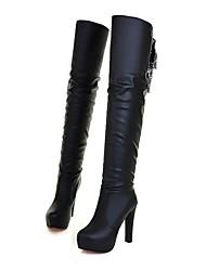 Damenschuhe Plattform runde Kappe Blockabsatz über das Knie Stiefel mit Spitzen-up mehr Farben erhältlich