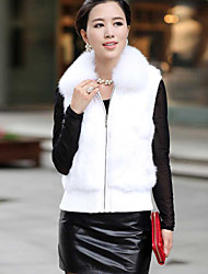Women's Coats & Jackets , Faux Fur Casual/Cute Long Sleeve Warm Heart