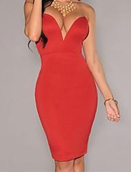 Women's V Neck Strapless Backless Bodycon Dress
