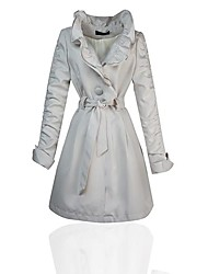 Frauen Rüschen Einreiher dünn Trenchcoat