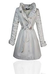 Women's Ruffles Single Breasted Skinny Trench Coat