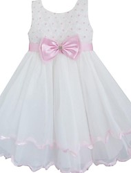 Girl's Flower Pink Bow Tie Wedding Pageant Bridesmaid Princess Child Cute Dresses