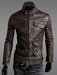 Men's Retro Slim Multi-Pocket Leather Motorcycle Jacket , Lined