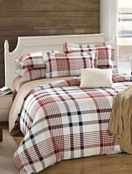 H&C ®  Thicken Cotton Sanded Fabric Duvet Cover Set  4 Pieces Checker Pattern Red White Multi-Color