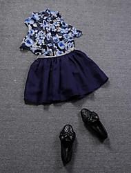 damesmode bloemen shirt en juweel riem kulotte (overhemd&rok)