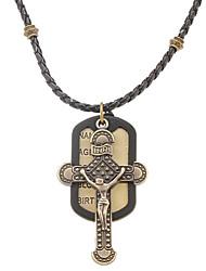 do punk (jesus tag cobre) trançar couro pingente de colar preto para os homens (1 pc)