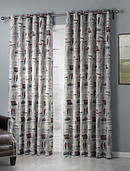 Eco-friendly Old Times American Street Landscapes Curtain (Two Panels)