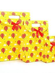 coway 3pcs infância feliz amarelo colagem balão sacos partido dos desenhos animados saco de papel do presente conjunto