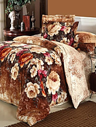 H&C ®  Thicken Cotton Sanded Fabric Duvet Cover Set  4 Pieces Flower Pattern  Brown Multi-Color