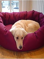 Round Soft-Fleece Bed with Paw Muster für Haustiere Hunde (verschiedene Farben)