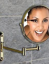 360 grados de rotación de aumento 2x chapado ti-pvd acabado de 8 pulgadas de la pared de latón macizo montaje espejo de aumento
