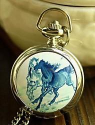 Women's Fashion Cute Small Blue Horse Enamel Quartz Movement Necklace Watch