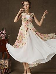 Women's Beach Swing Dress,Floral Deep V Maxi Sleeveless Summer
